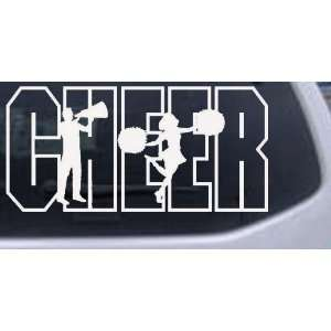 Cheer Leader Sports Car Window Wall Laptop Decal Sticker    White 40in