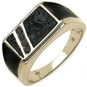 12 Carat 14K Yellow Gold Plated Sterling Silver Genuine Black Diamond