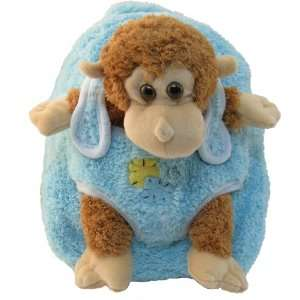 Kids Boys Girls Blue Monkey Plush Backpack with Stuffie
