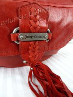 JUICY COUTURE Geranium Top Zip Leather Tassel Shoulder Bag NEW