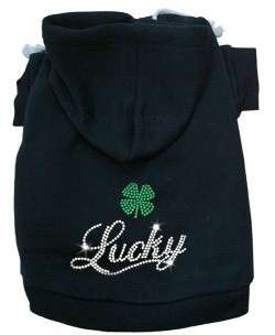 Dog Pet Puppy Lucky Shamrock Rhinestone Hoodie Jacket