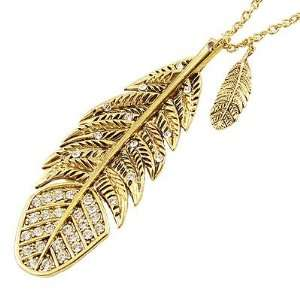 Rosallini Women Men Rhinestone Accent Gold Tone Alloy Leaf