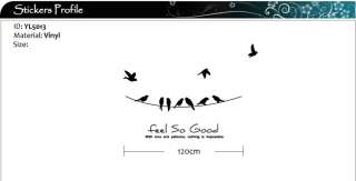 Power Line Birds Art Vinyl Wall Stickers / Wall Decals