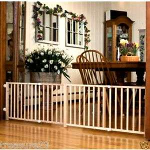 Four Paws Double Wide Walk Over Wooden Pet Safety Gate 18 H x 48 80