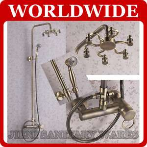 Antique Brass Wall Mounted Rain Shower Faucet Set 5030