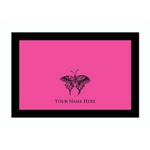 Personalized Stationery Note Cards Set with Butterfly   Lipstick Pink