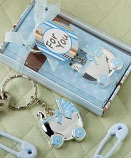 72   Blue Baby Carriage Design Key Chains Shower Favors