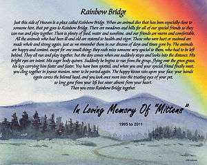 Personalized Rainbow Bridge 8x10 Pet Memorial Poem Sku# 977