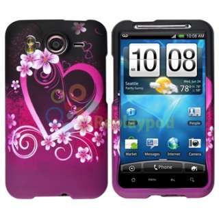 Purple Flower Heart Rubber Hard Case+Privacy LCD+Car Charger For HTC