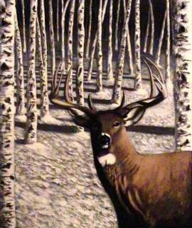 Original Acrylic Painting Buck Deer Winter Birch Trees