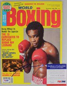 SUGAR RAY LEONARD AUTHENTIC SIGNED 1982 BOXING WORLD MAGAZINE PSA/DNA