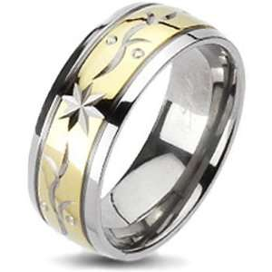 Titanium Two Tone Gold IP Laser Engraved Star Flora Band Ring Jewelry