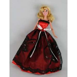 A Red and Black Ball Gown Made to Fit the Barbie Doll