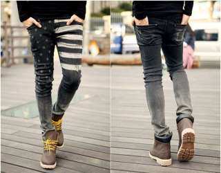 New Fashion Mens Stylish Skinny Wash Jeans Trousers Print Pants 8 size