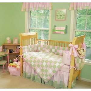 TREND LAB BABY 4PC CRIB BED SET PATCHWORK PINK/GREEN