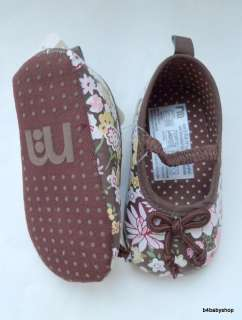 Brown Floral print Baby Girl Mary Janes Shoes(6 12M)