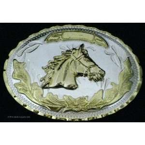 Head Cow Boy Western Gold and Silver Finishing Oval Belt Belt Buckle