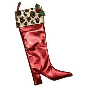 Handmade Christmas Stocking   Wild Holly   Silky Red with