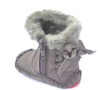 Gray Fur toddler baby girl shoes boots size 1
