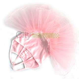 Girls Ballet Costume Tutu Skirt Kids Party Leotards Dance Dress Pink