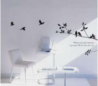 Tree and Bird Mural Art Wall Stickers Vinyl Decal Home Room Decor DIY
