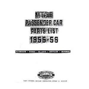 1955 1956 MOPAR CHRYSLER DODGE PLYMOUTH Parts Book Automotive