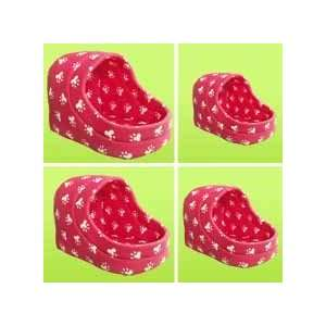 4PC PET HOUSE HOT PINK PAW DESIGN