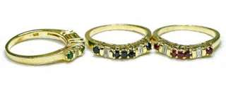 Vintage 14k yellow Gold & Diamond Ruby Sapphire Emerald 3 band Set