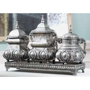 Set of 3 Egg & Dart Design Decorative Boxes Canisters with