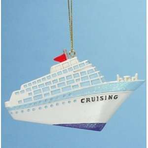 Glittery Cruising Cruise Ship Boat Christmas Ornament