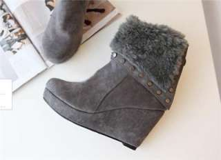 shoes faux fur cuff high wedge heel studded ankle booties boots