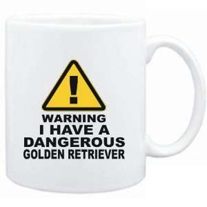Mug White  WARNING  DANGEROUS Golden Retriever  Dogs