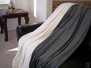 SUPER SOFT FAUX FUR / MICRO FIBER BLANKET THROW OLIVE