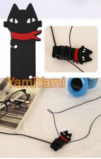 Black Cat Headphone Cord Cable Winder Manage Organizer