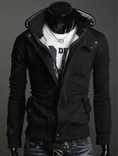 New Stylish Slim Fit Men Zip Outerwear overcoat Jackets Hoodies Coat 3