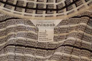 Exclusively Misook Button Front Cardigan Metallic L Black White Ivory