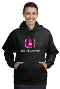 John Deere Black Hood Fleece Shirt Work Construction Outdoors