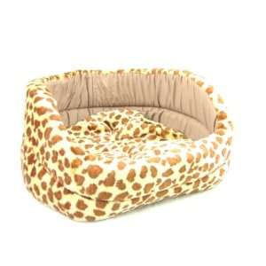 NEW PET BED Spotted Giraffe print Plush Dog Cat Sleeper