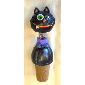 Crazy Black Cat Bobble Head Bottle Stopper  Kitchen