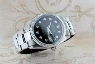 MENS ROLEX DATEJUST 18K/STAINLESS STEEL BLACK DIAMOND DIAL WATCH