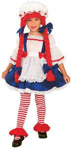 RAG DOLL Raggedy Ann Halloween Girls Costume Yarn Wig S