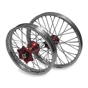 Pro Wheel Complete Wheel Assembly with Red Hub   Black Rim