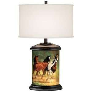 Home Run Horses Giclee Art Base Table Lamp