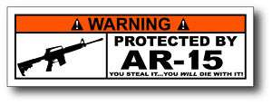 Protected By AR 15 Funny Toolbox Warning Sticker Decal