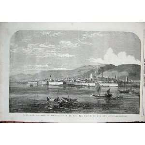 1854 Town Fortress Silistria Boats Mountains Fine Art