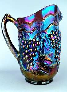 ANTIQUE* ELECTRIC PURPLE CARNIVAL GLASS PITCHER ~ LOTS OF BLUE