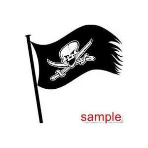 EVIL PIRATE SKULL AND SWORD WHITE VINYL DECAL STICKER