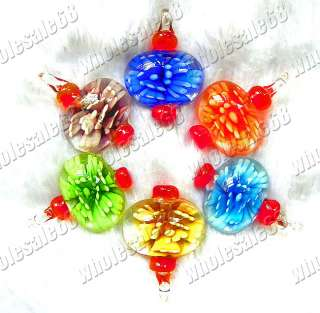 New wholesale lots 36pcs mixed flower murano glass pendants free