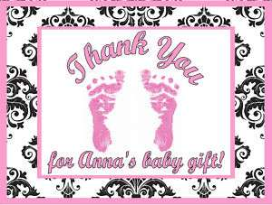 Girl Pink Feet Damask Print Baby Shower Thank You Cards Personalized