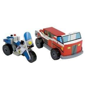 Toy Fire Truck & Police Motorcycle Vehicle Set Toys